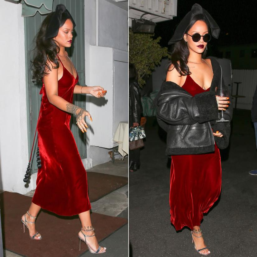 Rihanna Jean Paul Gaultier velvet slip dress with tassels, Prada silver sandals, Sunday Somewhere Pietro black round sunglasses, Vetements shearling leather jacket, Silver Spoon Attire velvet bow headband, Jacquie Aiche body chain and knuckle ring
