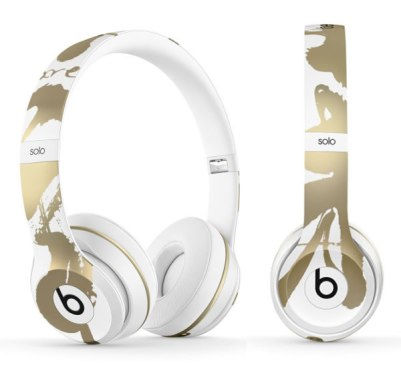 Beats by Dre x Chen Man Solo2 gold and white headphones as seen on Rihanna