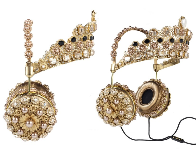 FRENDS x Dolce and Gabbana napa leather headphones with gold crown as seen on Rihanna