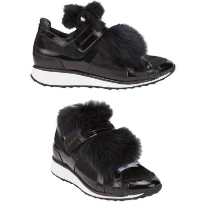 Pierre Hardy fur-trimmed sneakers as seen on Rihanna