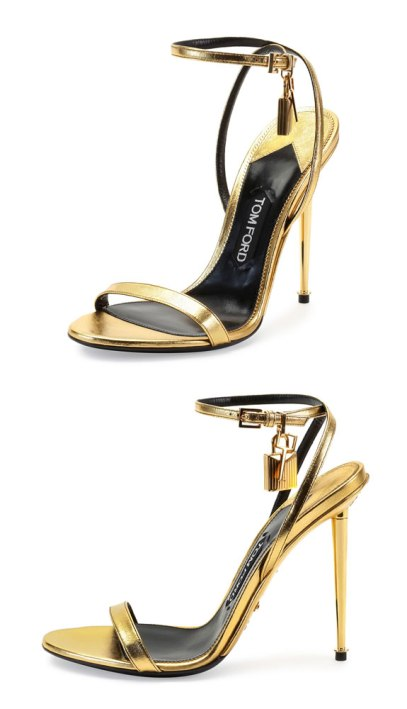 Tom Ford metallic gold padlock sandals as seen on Rihanna