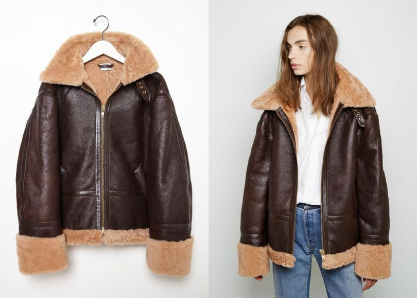 Vetements brown shearling leather jacket as seen on Rihanna