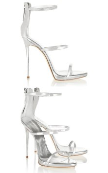 Giuseppe Zanotti silver Harmony sandals as seen on Rihanna