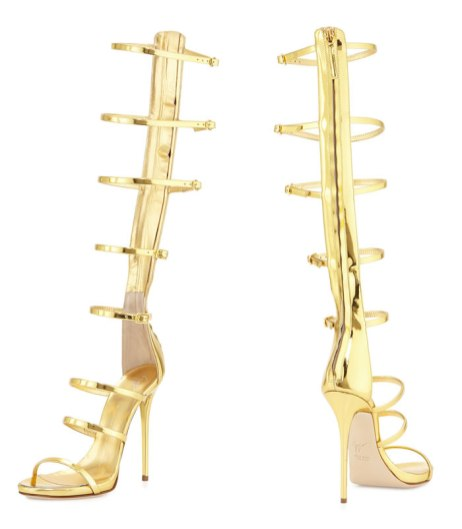 Giuseppe Zanotti gold strappy gladiator sandals as seen on Rihanna in Work music video