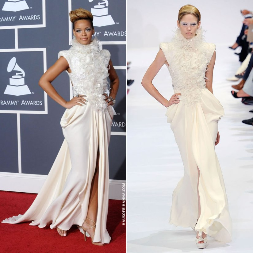 Rihanna Grammy Awards 2010 Elie Saab Fall 2009 couture white dress
