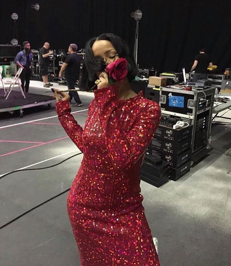 Rihanna Nina Ricci red sequin dress at 2016 Grammys rehearsals