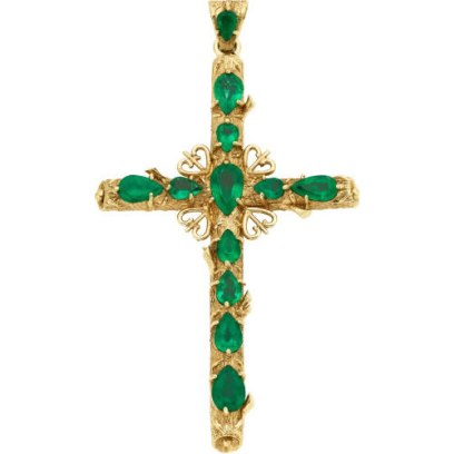 Roseark emerald and 18k gold cross pendant as seen on Rihanna
