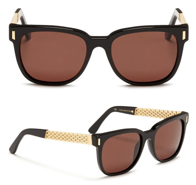 Super Francis Sciuro Gold flat top sunglasses as seen on Rihanna