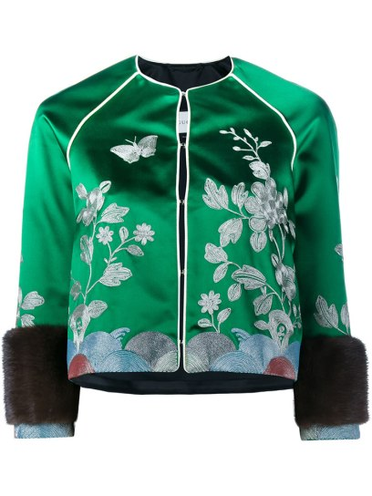 Gucci green embroidered track jacket as seen on Rihanna