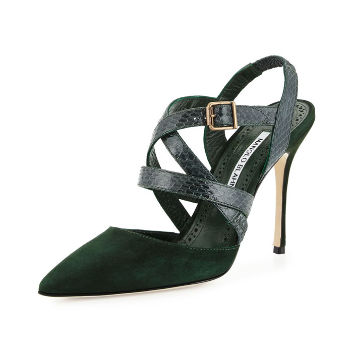 Manolo Blahnik green Pitina suede and snakeskin strappy slingback pumps as seen on Rihanna