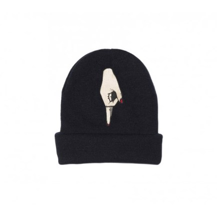 Pantheone black buck beanie hat as seen on Rihanna