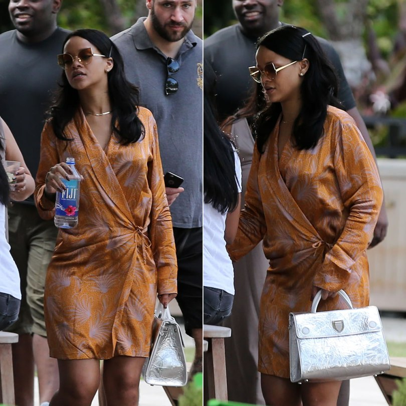 Rihanna Dries Van Noten wrap dress, Chris Habana x Gentle Monster Chola gold cat eye metal sunglasses with diamond studded lenses