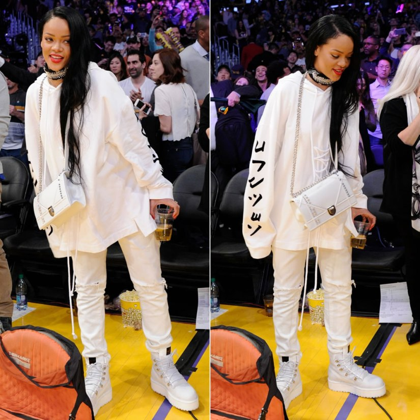 Rihanna Fenty x Puma Fall 2016 lace-up detail hoodie and white combat boots, Dior studded Diorama handbag, Fallon Monarch bandana choker, Citizens of Humanity Corey distressed natural boyfriend jeans