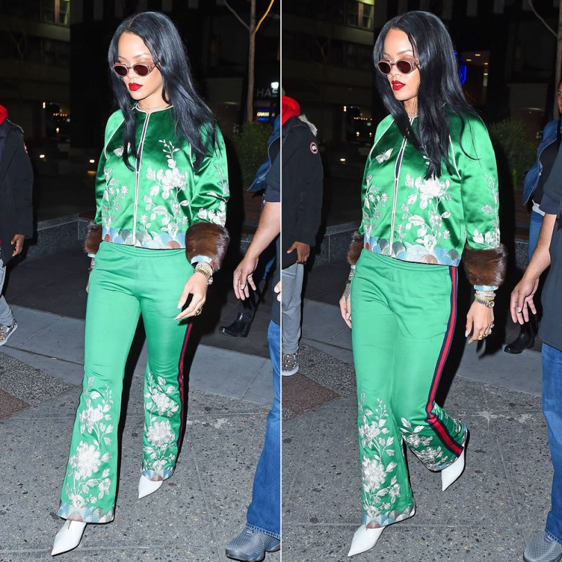 Rihanna Gucci green embroidered track jacket pants, Celine white v-neck ankle boots, Jean Paul Gaultier 56-6201 perforated side shield sunglasses, My Dior bracelets, Chopard Happy Hearts bracelets