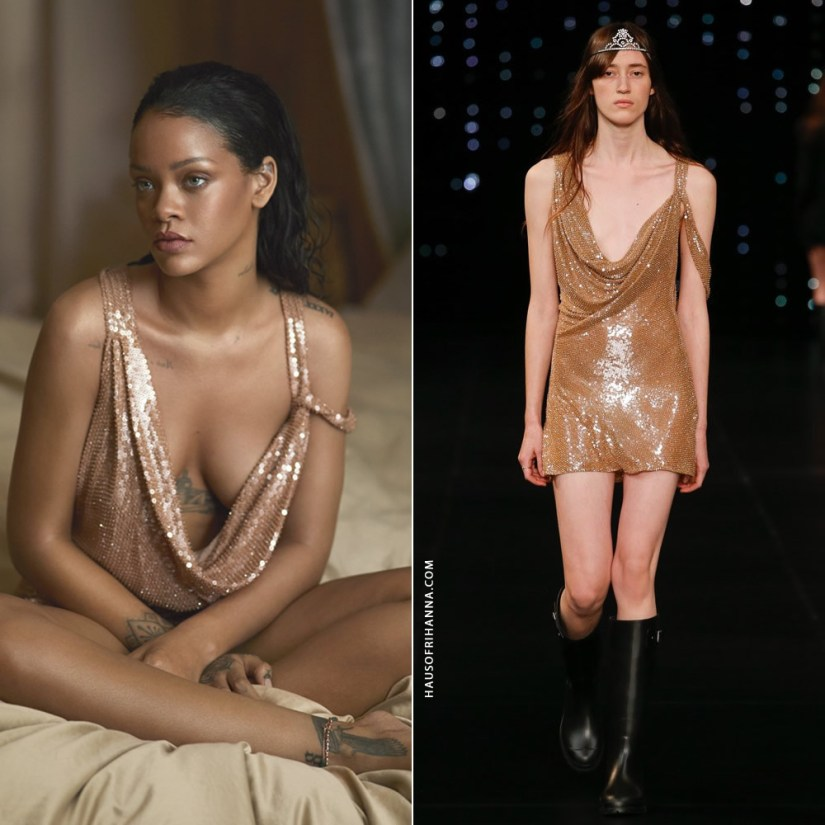 Rihanna US Vogue April 2016 Saint Laurent sequin mini dress