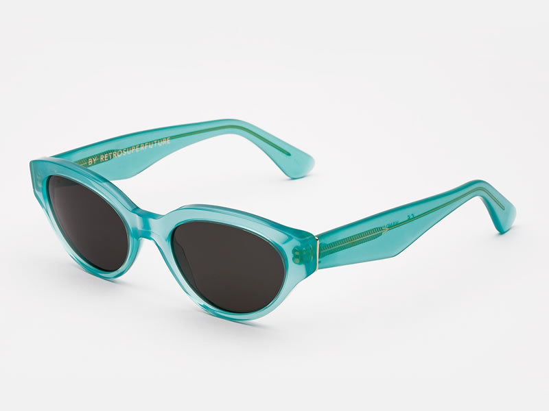 Super Drew translucent turquoise sunglasses as seen on Rihanna