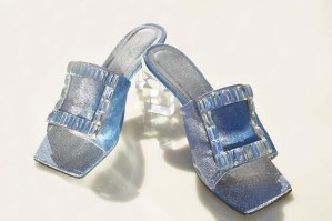 Area Spring 2016 lucite heel mules as seen on Rihanna