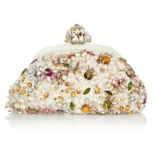 Dolce and Gabbana Miss Dea pearl and jewel embellished lace clutch as seen on Rihanna