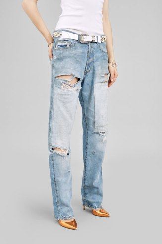 Faith Connexion ripped boyfriend patch jeans as seen on Rihanna