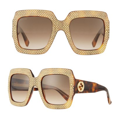 Gucci square tortoiseshell rhinestone sunglasses as seen on Rihanna