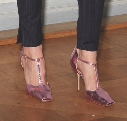 Paul Andrew for Juan Carlos Obando metallic pink t-strap pumps as seen on Rihanna