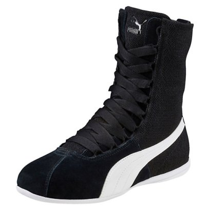 Puma Eskiva hi textured sneakers in black as seen on Rihanna