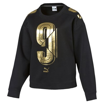 Puma metallic gold Number 9 sweatshirt as seen on Rihanna
