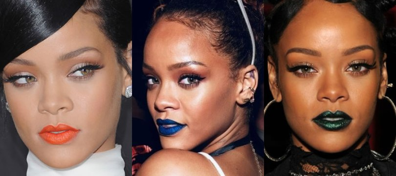 Rihanna orange, blue, green lipstick