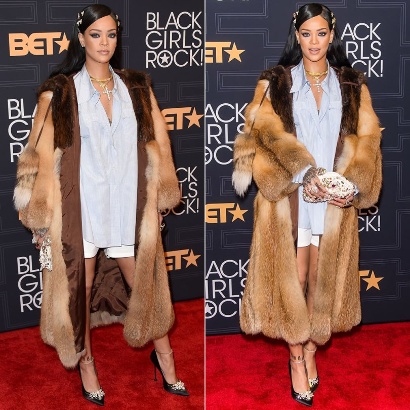 Rihanna at Black Girls Rock 2016 Miu Miu Fall 2016 fur coat and pumps, Dolce and Gabbana Miss Deam embellished clutch, Le Vian necklace, Bavna ring, Fallon Monarch hair pins, Jacquie Aiche custom cameo ring