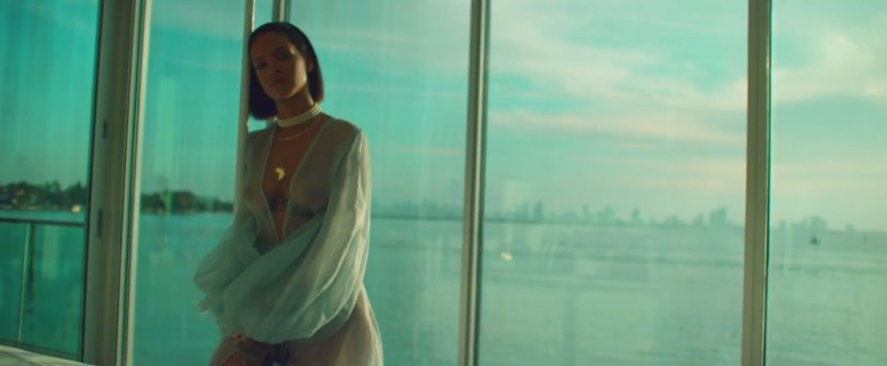 Rihanna Needed Me music video Rosamosario sheer blue robe dress