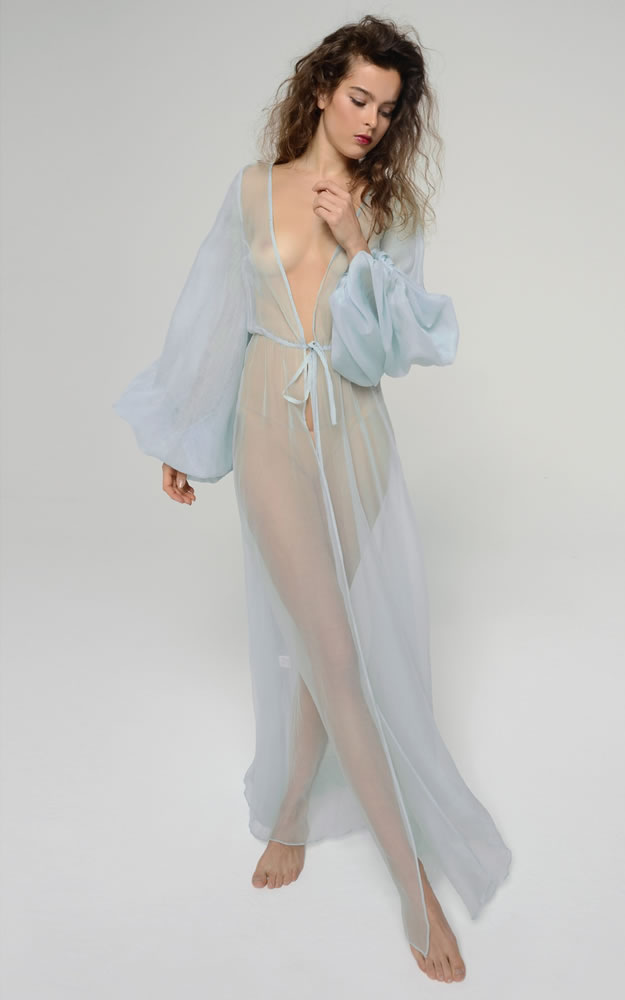 Rosamosario Cosmic Love couture sheer blue silk robe as seen on Rihanna