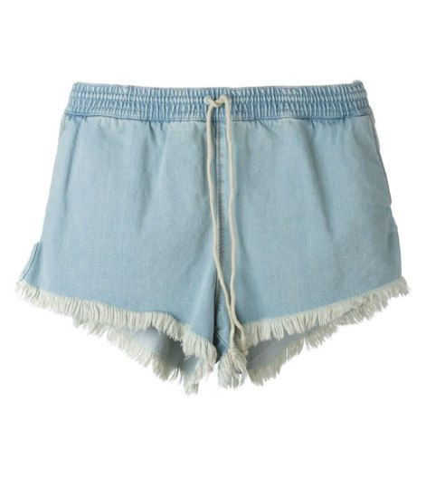Chloé bleached denim drawstring shorts as seen on Rihanna