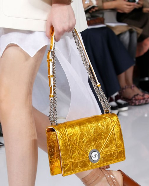 Dior gold crinkled lambskin Diorama handbag as seen on Rihanna