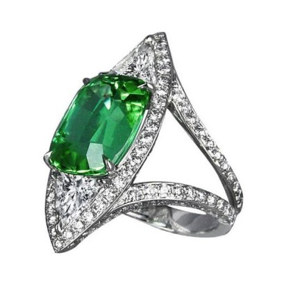 Jacob & Co green tourmaline and white diamond ring as seen on Rihanna