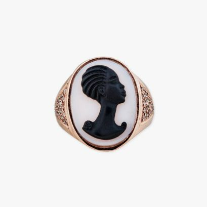 Jacquie Aiche carved cameo ring as seen on Rihanna