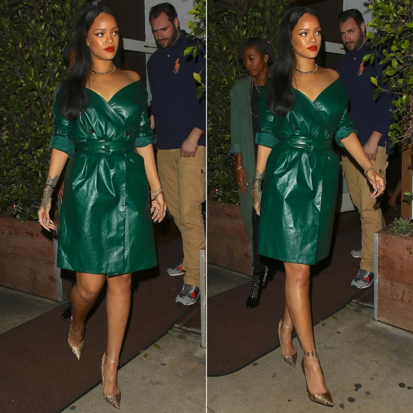 Rihanna Nina Ricci green leather wrap dress, Christian Louboutin So Kate Brocart bronze brocade pumps