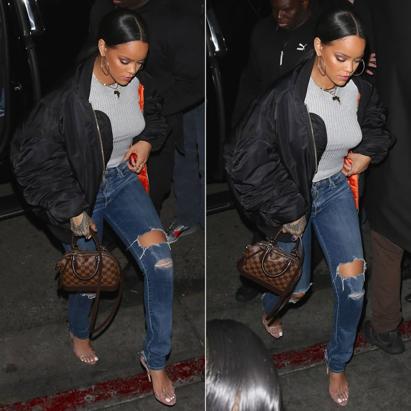 Rihanna Vetements black oversized bomber jacket, Citizens of Humanity premium vintage Arley distressed jeans in Ramone, Brian Atwood Aniston slingback sandals, Louis Vuitton Alma BB damier ebene handbag, Jacquie Aiche scarab ring and cameo rings, KDIA gemstone dots necklace