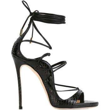 Dsquared2 Riri sandals in black python as seen on Rihanna