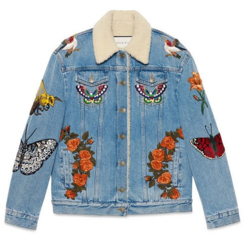 Gucci embroidered denim shearling jacket as seen on Rihanna