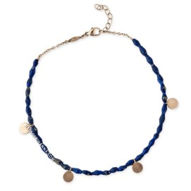 Jacquie Aiche plain disc lapis beaded anklet as seen on Rihanna