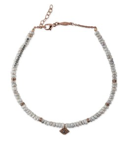 Jacquie Aiche white sapphire beaded anklet with eye charm as seen on Rihanna