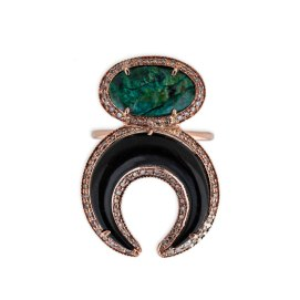 Jacquie Aiche turquoise and black double horn ring as seen on Rihanna