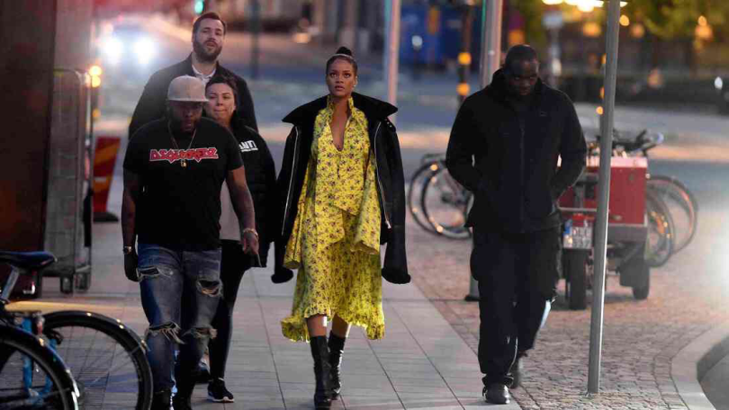 Rihanna Vetements floral yellow dress and black shearling jacket