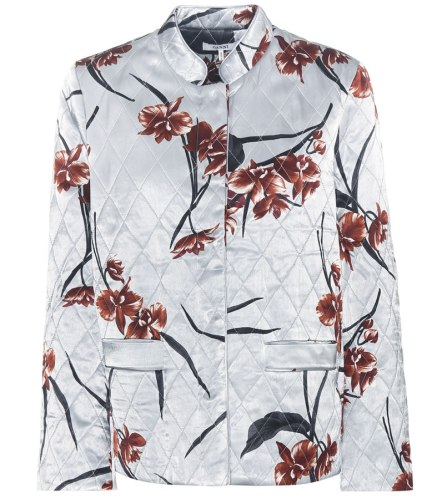 Ganni floral Sanders quilted satin jacket as seen on Rihanna