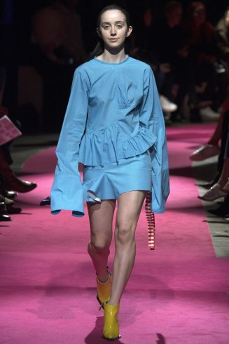 Marques'Almeida Fall 2016 blue pleated top and mini skirt as seen on Rihanna