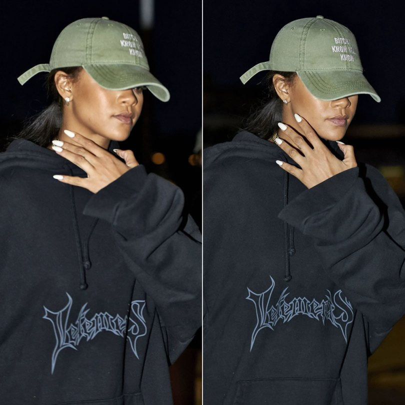 Rihanna Anti World Tour cap, Vetements black logo hoodie