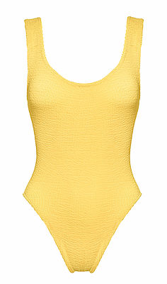 Hunza G yellow textured scoop neck one piece swimsuit as seen on Rihanna