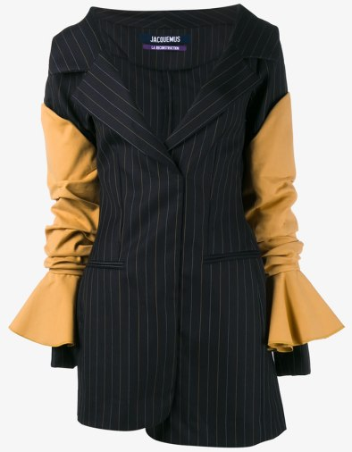 Jacquemus pinstripe off-the-shoulder mini dress as seen on Rihanna