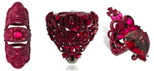 Lydia Courteille ruby rings as seen on Rihanna