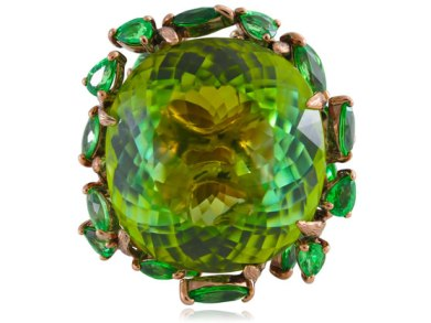 Lydia Courteille tsavorite and brown rhodium gold ring as seen on Rihanna
